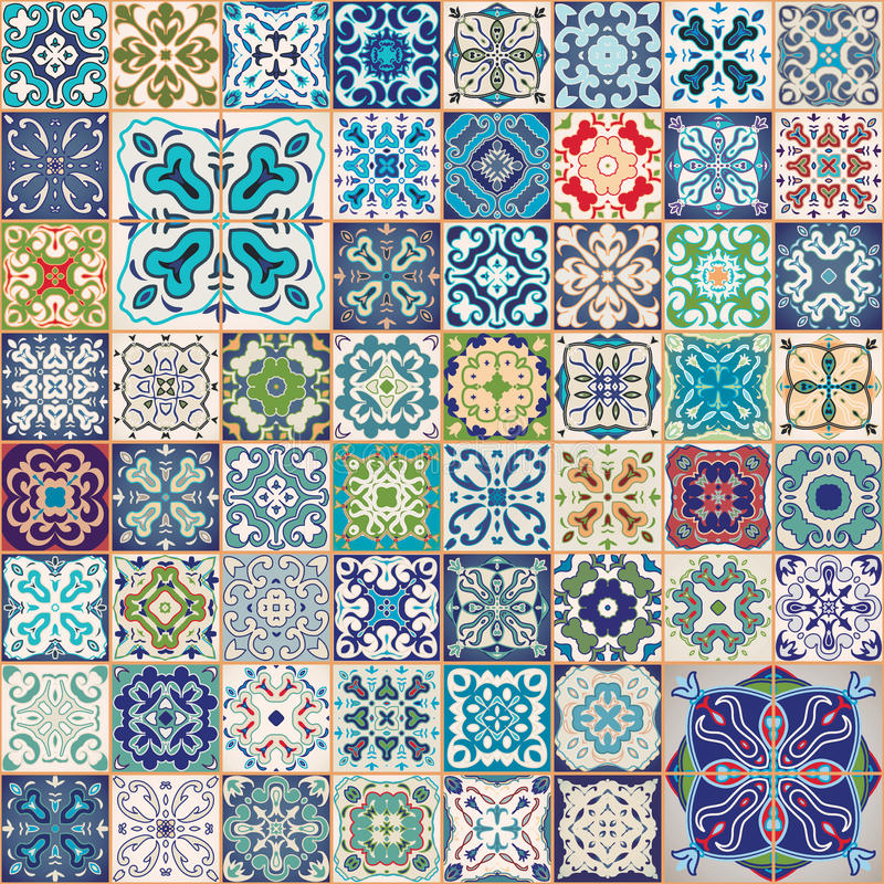 Gorgeous floral patchwork design. Colorful Moroccan or Mediterranean square tiles, tribal ornaments. For wallpaper print. Pattern fills, web background royalty free illustration