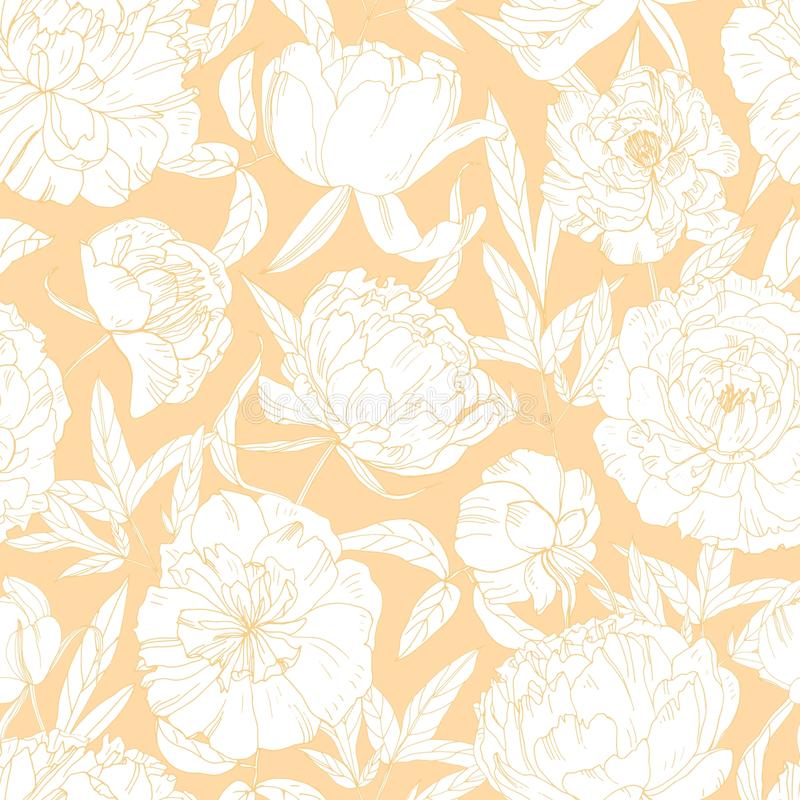 Gorgeous floral seamless pattern with blooming peony flowers hand drawn with contour lines on orange background. Natural stock illustration