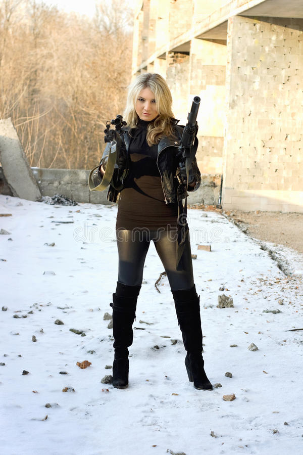 Download Gorgeous girl with rifle stock photo. Image of lady, defend - 29019522