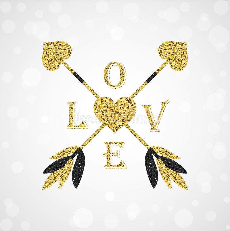 Gorgeous golden cupid arrows with valentine heart royalty free stock photography
