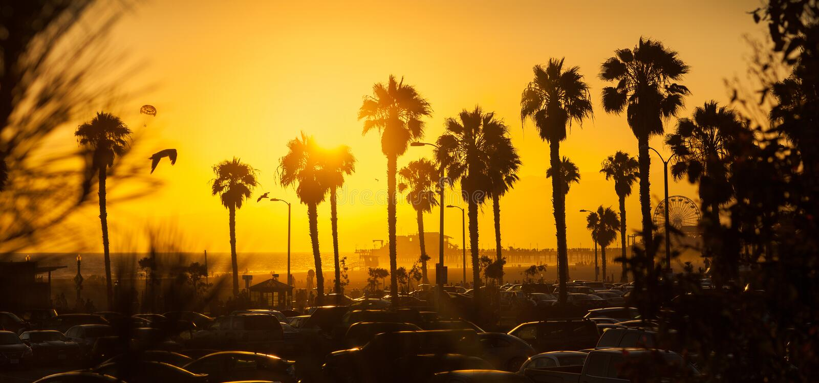 Gorgeous golden sunset at Los Angeles beach royalty free stock images