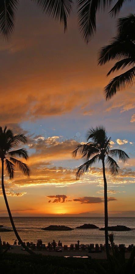 Gorgeous Hawaiian Sunset At Koolina Resort Stock Photo