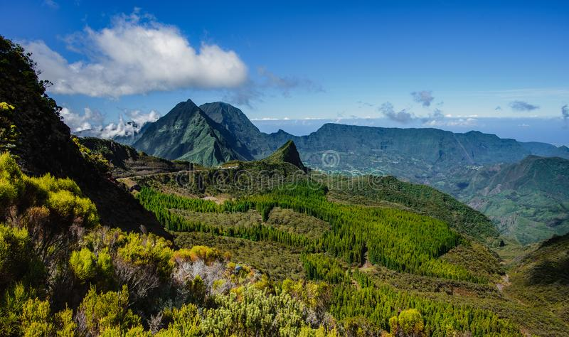 Scenery from the mafatte, la reunion stock photo