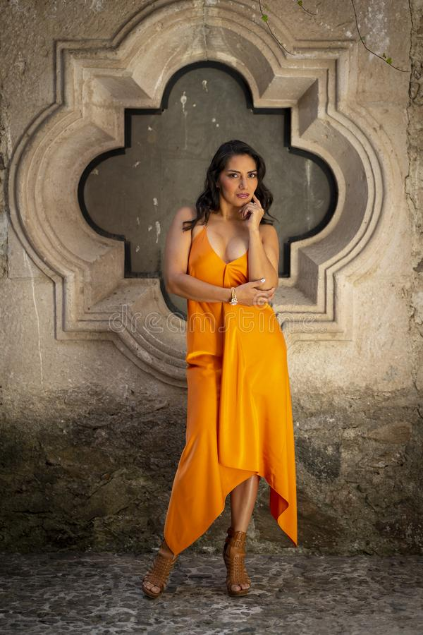 A Lovely Hispanic Brunette Model Poses Indoors On A Mexican Ranch royalty free stock photos