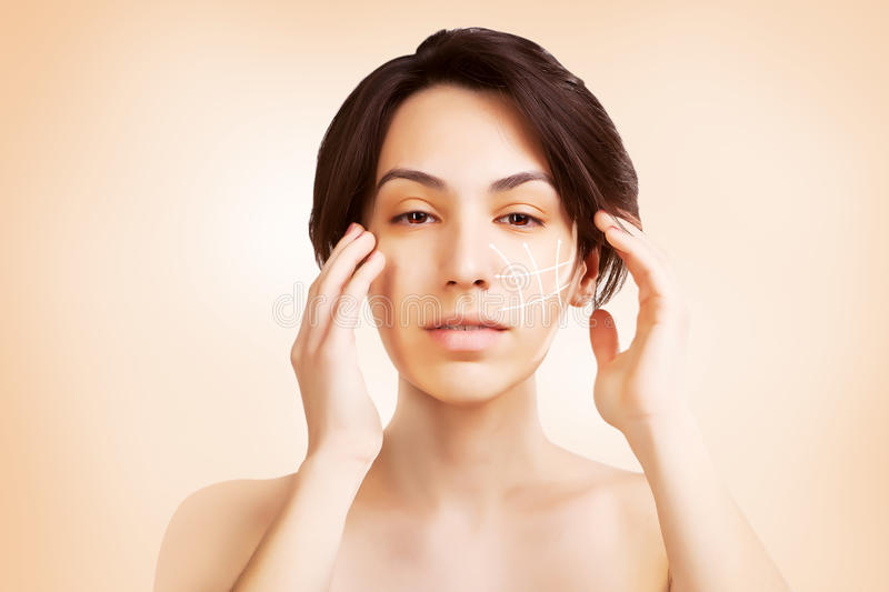 Gorgeous japanese dark haired model portrait with skin surgery m royalty free stock photography