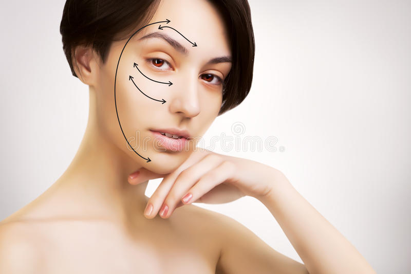 Gorgeous japanese dark haired model portrait with skin surgery m royalty free stock image