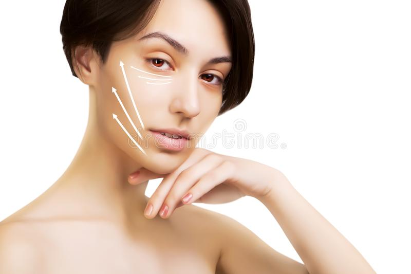 Gorgeous japanese dark haired model portrait with surgery mark royalty free stock photography