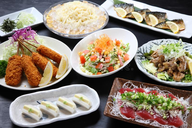 Gorgeous Japanese dishes meet up stock photos