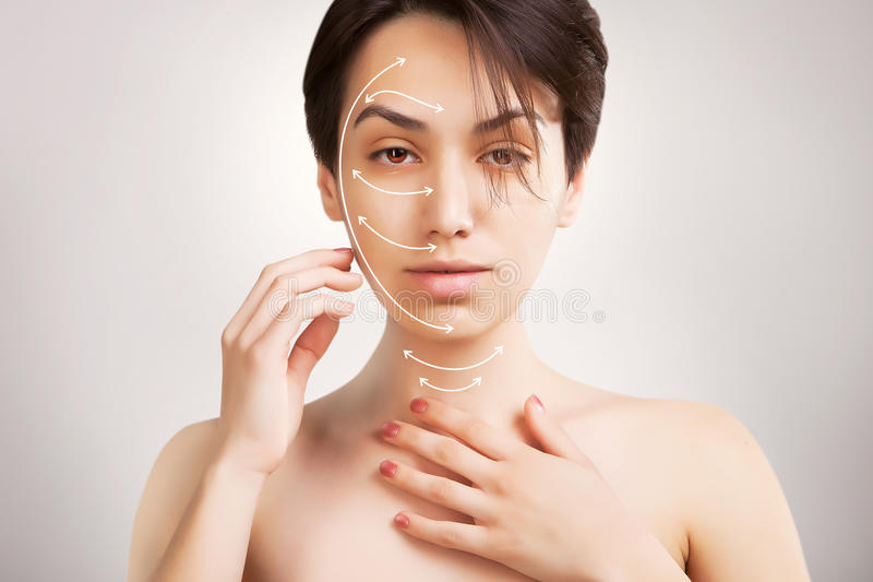 Gorgeous japanese model portrait with skin surgery mark isolated stock photography