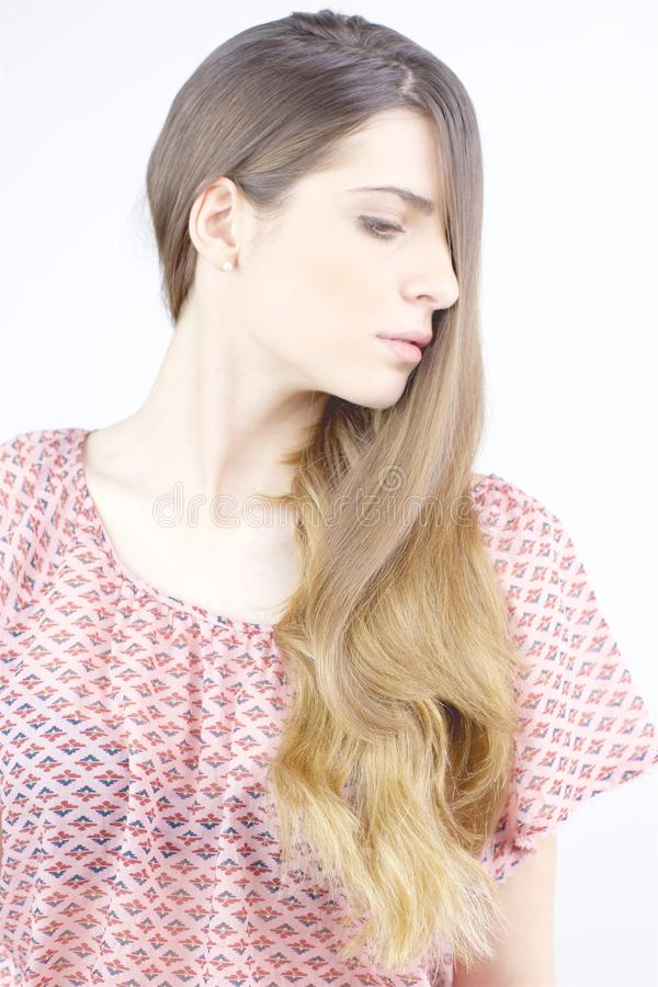 Gorgeous lady with beautiful silky very long hair profile royalty free stock photos
