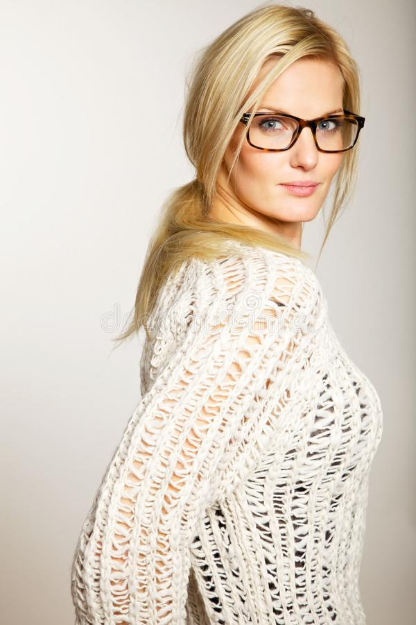 Gorgeous Lady with Eyewear in Side View stock image
