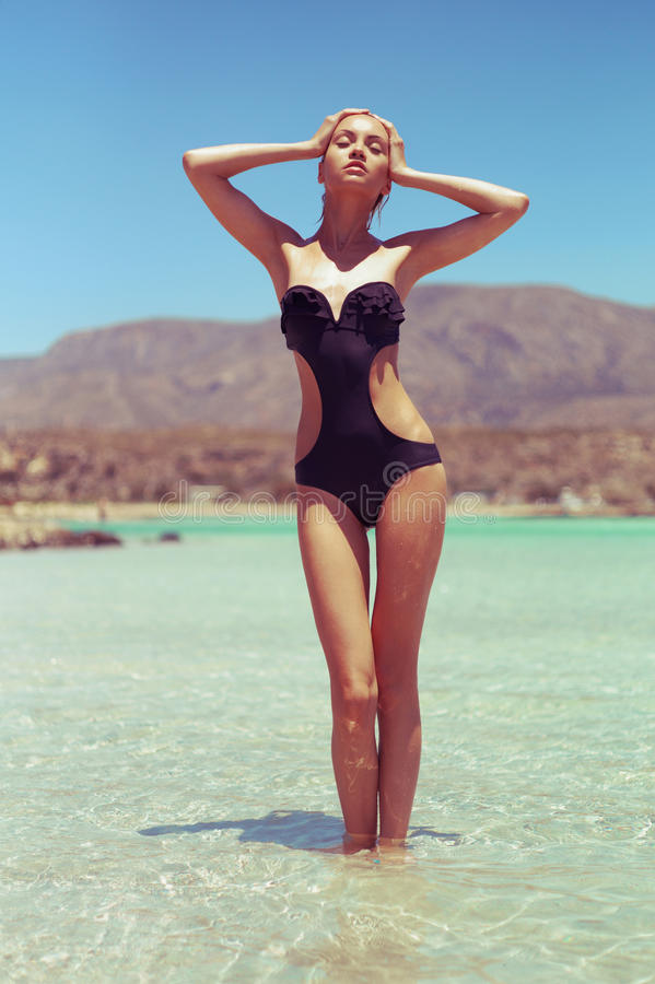 Gorgeous lady at the sea stock image