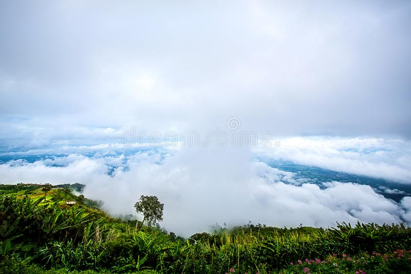 Gorgeous landscape of blue sky, white cloud and green hill. Nature background and wallpaper, view from peak mountain stock photos