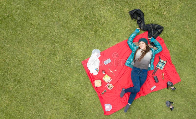 Gorgeous Latina student picnicking in the park, aerial view, available space for editing stock photo