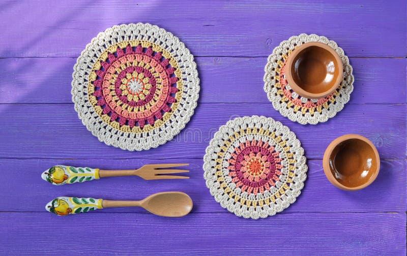 Gorgeous Mandala Crochet Doilies,Cutlery stock image