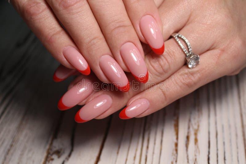 Gorgeous manicure, dark purple tender color nail polish, closeup photo stock image