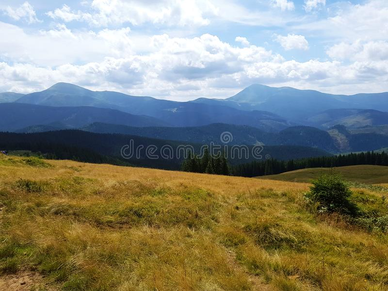 Gorgeous mountain landscape in fine summer weather under blue sky with cloud. Yellow grass. Carpathians Mountains royalty free stock photography