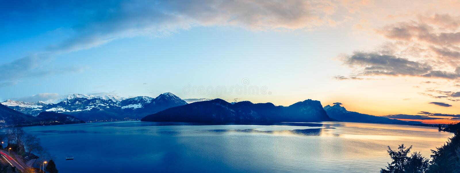 Gorgeous night panorama bright colors. Lake Lucerne. Evening panorama in black and white. Lake Lucerne in Switzerland. Alps Mountains, Mount Pilatus, Burgenstock stock image