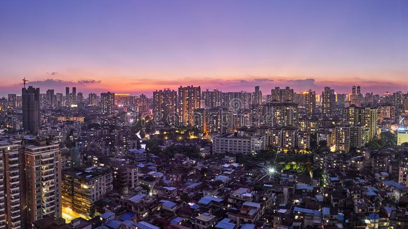 Gorgeous night view of many high-end enterprises such as finance, insurance, real estate, Guangzhou city, China. royalty free stock image