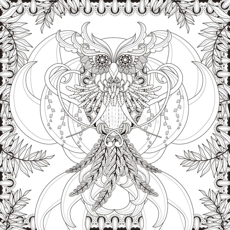 Gorgeous owl coloring page royalty free illustration