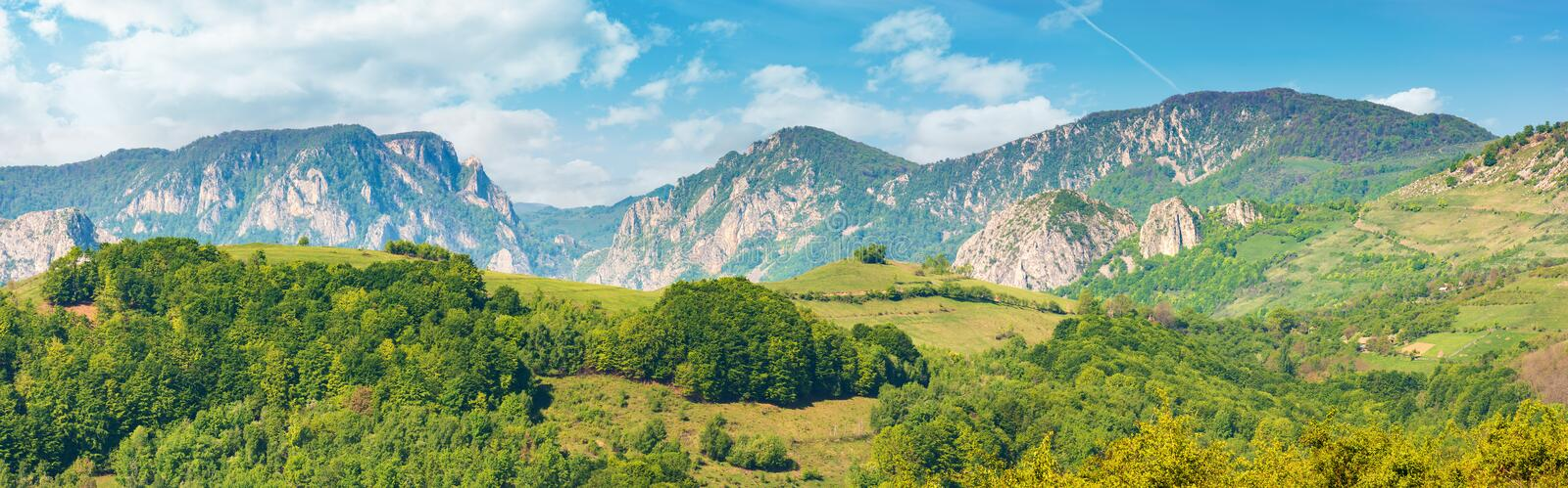 Gorgeous panorama of countryside in springtime stock image