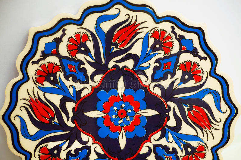 Gorgeous pattern from colorful Turkish tiles. Old fashioned design stock images
