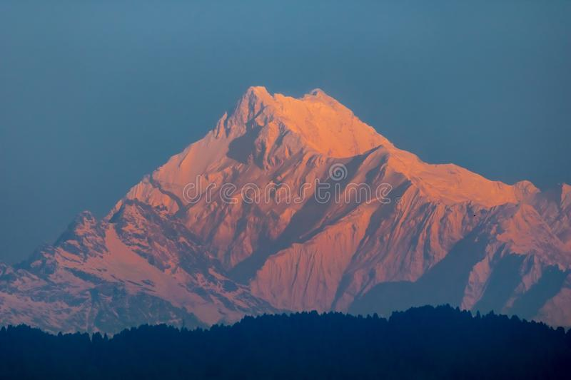 A gorgeous Peak, The great Kangchenjunga in Mighty Himalayas. Kangchenjunga, Kangchenjunga, also spelled Kanchenjunga. is the third highest mountain in the world royalty free stock image