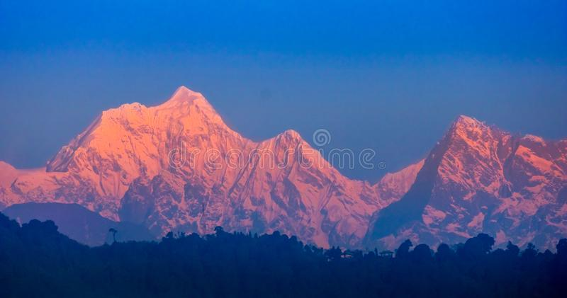 A gorgeous Peak, The great Kangchenjunga in Mighty Himalayas. Kangchenjunga, Kangchenjunga, also spelled Kanchenjunga. is the third highest mountain in the world royalty free stock photos