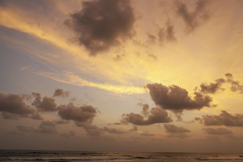 Gorgeous pink and purple dawn. Indian ocean royalty free stock photography
