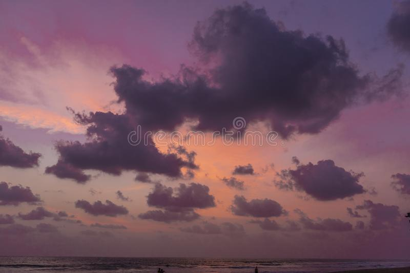 Gorgeous pink and purple dawn. Indian ocean royalty free stock photos