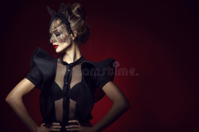 Gorgeous posh lady with updo hair and perfect make up wearing lace bodysuit with frill sleeves and black lace cat mask stock photo