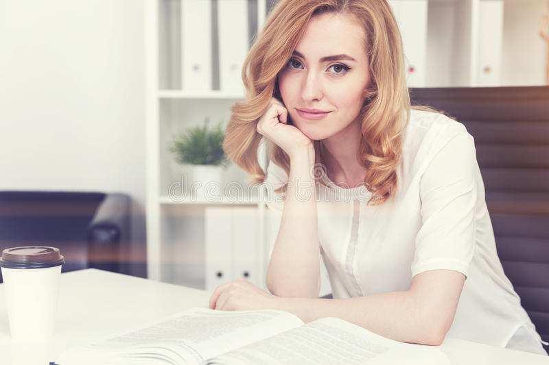 Gorgeous red haired woman listening to you royalty free stock photos