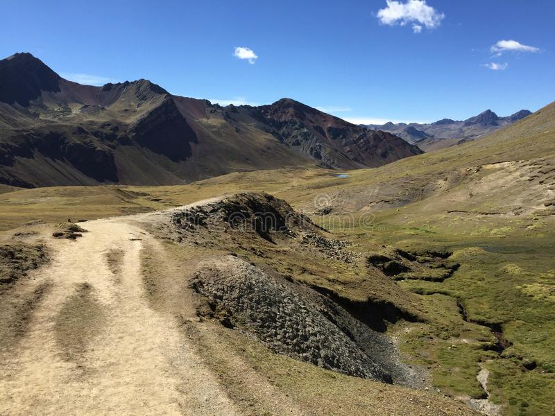 Gorgeous remote valley along the way to Rainbow mountain, high i royalty free stock photography