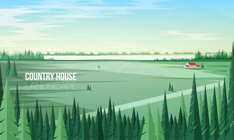 Gorgeous rural landscape with green coniferous forest trees on foreground and farm building or country house standing in. Middle of large field and clear sky on stock illustration