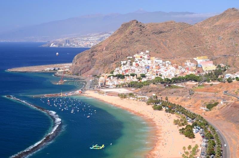 Gorgeous San Andres village and Teresitas beach on Tenerife. Island, Spain royalty free stock photos