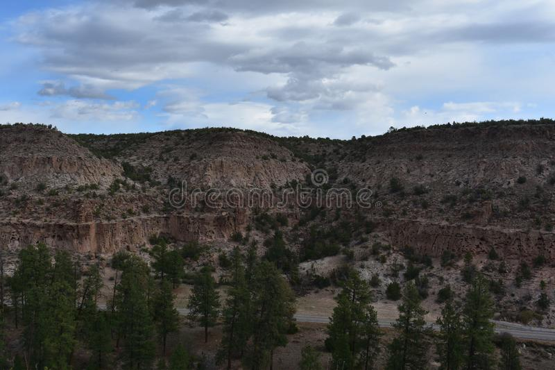 A Gorgeous Scenic Look at Bandelier National Monument New Mexico. A stunning scenic look at Bandelier National Monument in Los Alamos New Mexico royalty free stock image