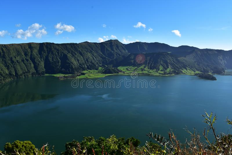 Amazing Scenic Look at the Blue Lake of Sete Cidades royalty free stock photo