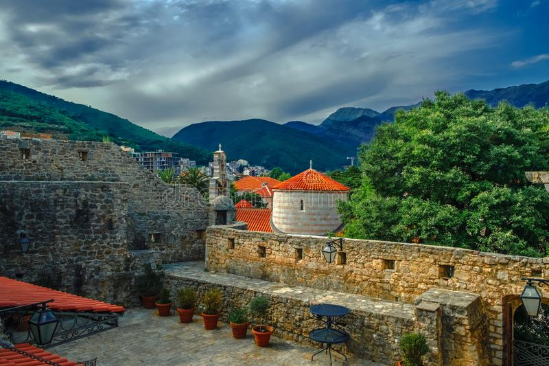 Gorgeous scenic view on the Town in Budva, Montenegro. Gorgeous scenic view on the Old Town in Budva, Montenegro royalty free stock photography