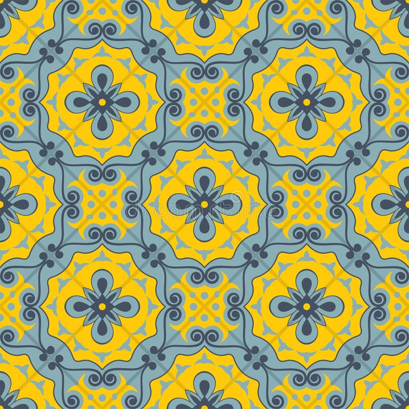 Gorgeous seamless patchwork pattern from blue and yellow Moroccan tiles, ornaments. Can be used for wallpaper, pattern fills, web page background,surface royalty free illustration