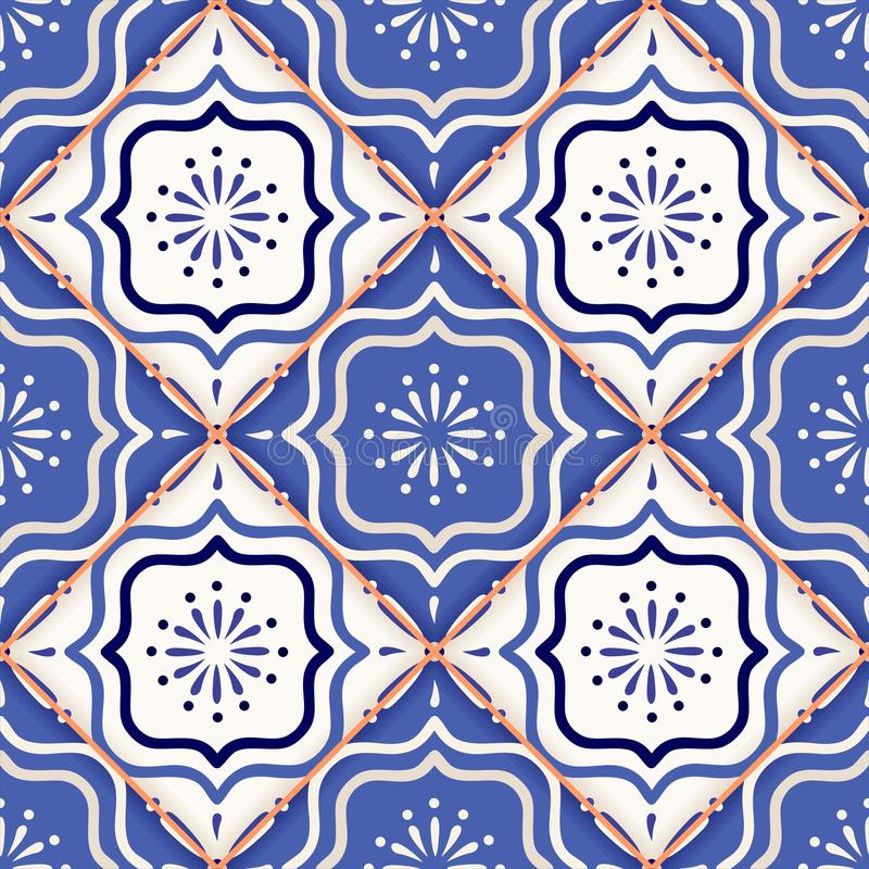 Gorgeous seamless patchwork pattern from colorful Moroccan tiles stock illustration