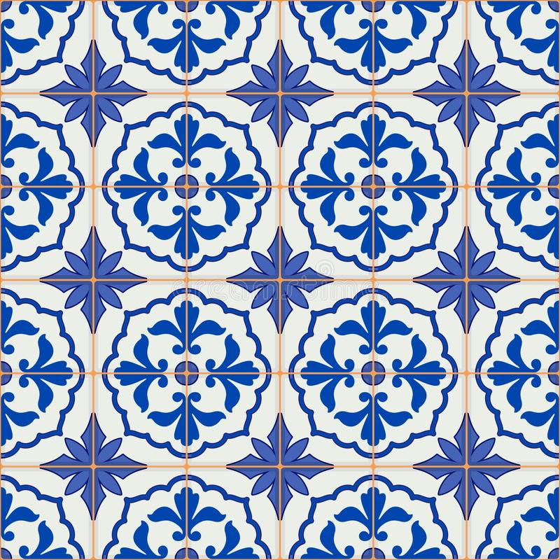 Gorgeous seamless patchwork pattern from dark blue and white Moroccan, Portuguese tiles, Azulejo, ornaments. vector illustration