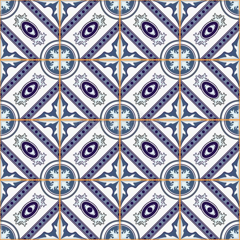 Gorgeous seamless patchwork pattern from dark blue and white Moroccan, Portuguese tiles, Azulejo, ornaments. Can be used for wallpaper, pattern fills, web page stock illustration