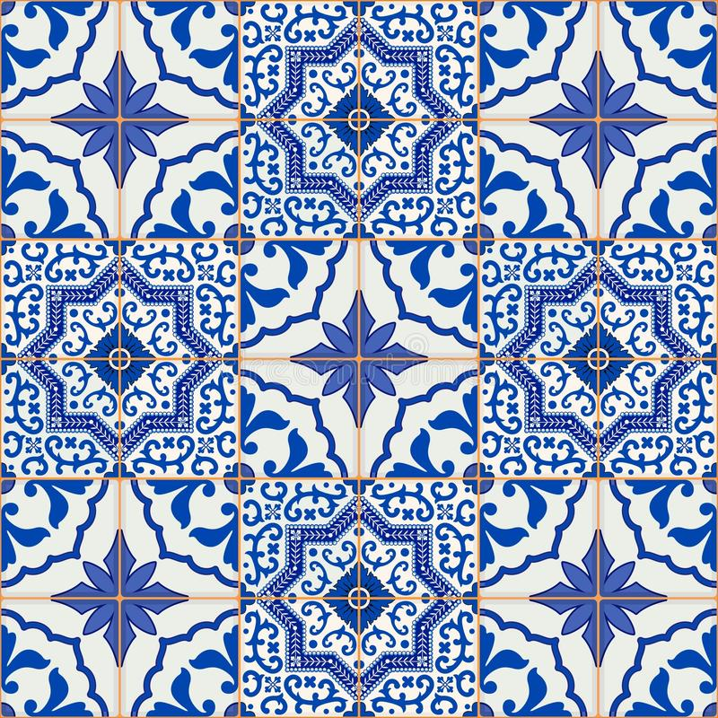 Gorgeous seamless patchwork pattern from dark blue and white Moroccan, Portuguese tiles, Azulejo, ornaments. stock illustration