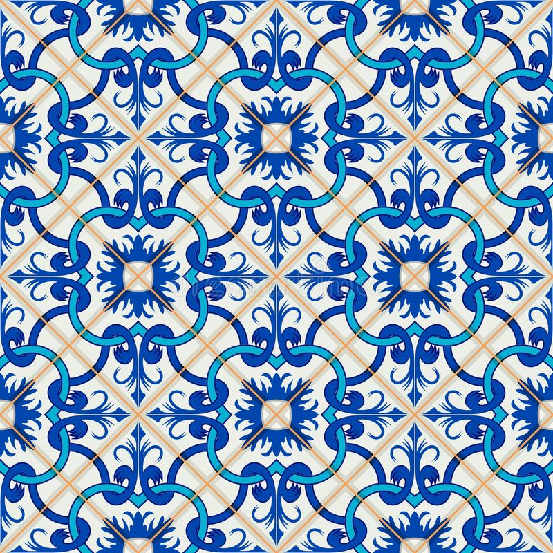 Gorgeous seamless patchwork pattern from dark blue and white Moroccan, Portuguese tiles, Azulejo, ornaments. royalty free illustration