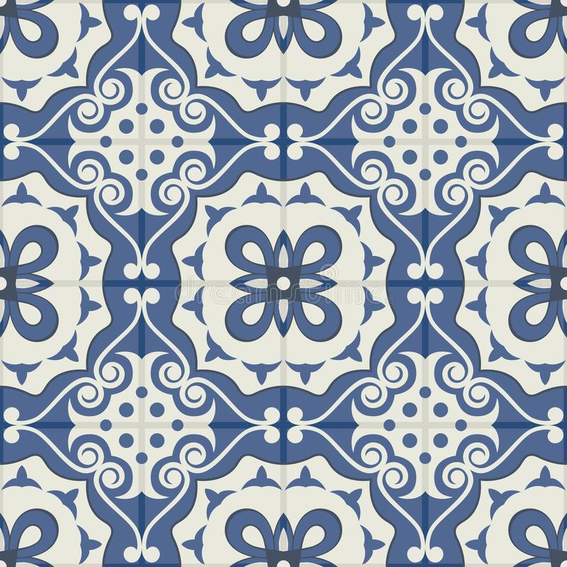 Gorgeous seamless patchwork pattern from dark blue and white Moroccan tiles, ornaments. stock illustration