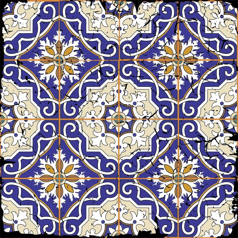 Gorgeous seamless patchwork pattern from grunge Moroccan tiles royalty free illustration