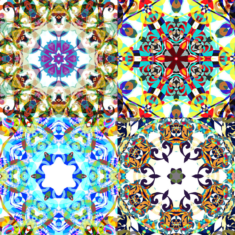 Gorgeous seamless patchwork patterns. Colorful floral ornament tiles. For different design uses, as wallpaper, pattern fills, web page background, surface royalty free illustration