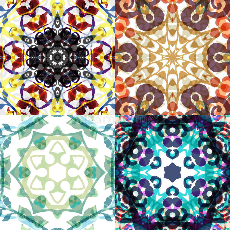 Gorgeous seamless patchwork patterns. Colorful floral ornament tiles. For different design uses, as wallpaper, pattern fills, web page background, surface stock illustration