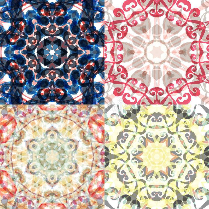 Gorgeous seamless patchwork patterns. Colorful floral ornament tiles. For different design uses, as wallpaper, pattern fills, web page background, surface vector illustration