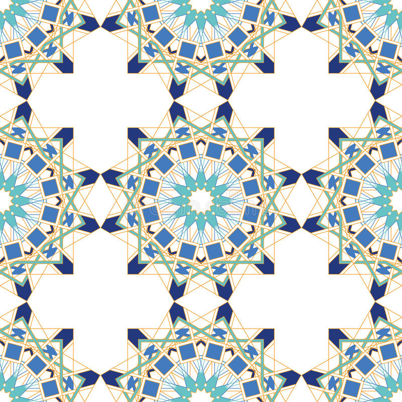Gorgeous seamless pattern from blue Moroccan tiles, ornaments. Can be used for wallpaper, pattern fills, web page background, surface textures stock illustration